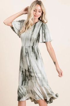 modest dresses, olive tie dye midi dress, modest clothing store