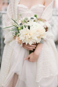#anemone, #bouquet, #dahlia  Photography: Feather & Twine Photography - featherandtwinephotography.com  Read More: http://www.stylemepretty.com/2014/04/15/whimsical-brooklyn-wedding/