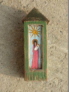 Guardian Angel / Angel Rustic Shrine / Hand Painted Shrine / Wood Original Acrylic Painting Art