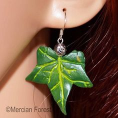 Pagan/ Symbolic Ivy Leaf Earrings In Summer Tones - Pagan Jewellery, Druid, Wiccan, Nature Pagan Jewelry, Ivy Leaf, Tree Of Life Pendant, Leaf Earrings, Wiccan, Sterling Silver Pendants, Pendant Necklace, Jewellery, Summer