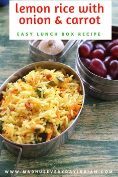 lemon rice with onion and carrot for lunch box