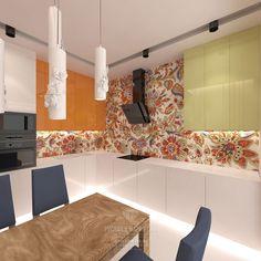 Современный стиль в дизайне кухни с цветочными узорами
