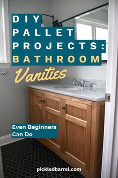 Looking to update your bathroom with a rustic feel? You can create a beautiful rustic vanity with these DIY pallet projects. Take a look. So easy even a beginner can do it. What are you waiting for? Start today on a beautiful rustic bathroom vanity made from pallets. It will be durable, rustic, and cheap. How can you go wrong?