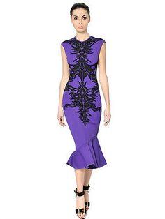 Alexander McQueen PurpleSpine Intarsia Knit Flounce Dress