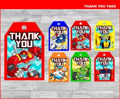 Rescue Bots thank you tags instant download, Printable Rescue Bots party thank you tags, Rescue Bots tags