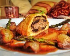 Portobello Mushroom, Hummus and Walnut Wellingtons served with a Red Wine Jus and Glazed Shallots - Vegan