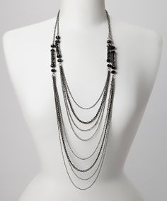 Silver & Black Bead Multi-Strand Necklace
