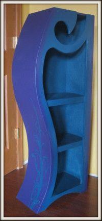 Purple and blue 4ft wood bookshelf