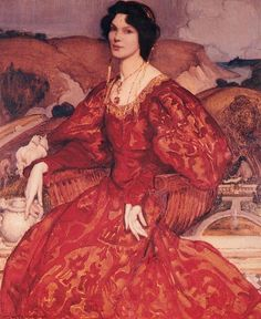 George Washington Lambert Sybil Walker in a Red and Gold Dress - 1905 - Art Nouveau Pintura, Red And Gold Dress, Art Through The Ages, Dress Painting, National Portrait Gallery, Portrait Art, Portraits, Portrait Paintings, Oil Paintings