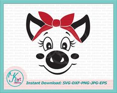 pig face svg, pig with bandana, smiling face svg, cute pig svg, pig svg, funny animals, svg girl, cricut shirt svg, svg for commercial use