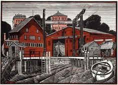 """Rockport, Maine"" linocut by James Dodds RCA (b.1957). www.jamesdodds.co.uk Tags: Linocut, Cut, Print, Linoleum, Lino, Carving, Block, Woodcut, Helen Elstone, Sea, Water, Boats, Buildings"