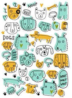 Ideas For Wall Paper Pattern Dog Art Prints Dog Wallpaper, Pattern Wallpaper, Dog Drawing Simple, Cat Drawing, Drawing Ideas, Dog Pattern, Pattern Art, Children's Book Illustration, Illustration Animals
