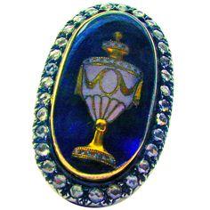 Antique  Enamel Gold Urn Ring