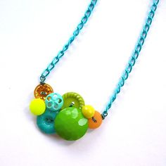 Items similar to Bright Neon Jewelry - Vintage Button Necklace - Aqua, Tangerine Orange, Yellow, Lime on Etsy Aqua Color, Teal Colors, Colours, Button Art, Button Crafts, Neon Jewelry, Jewelry Necklaces, Button Necklace, Vintage Buttons