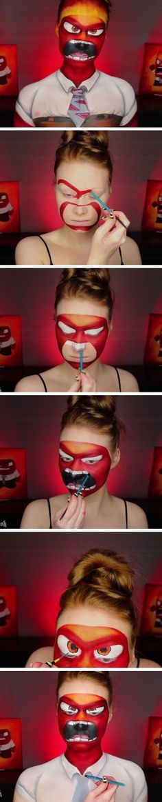 Inside Out Anger Makeup Tutorial