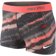 Nike Pro Core Compression Print Women's Shorts - Bright Mango, M ($22) ❤ liked on Polyvore featuring activewear, activewear shorts, compression sportswear, nike, nike activewear and nike sportswear