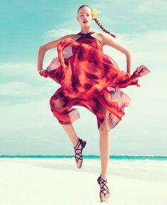 Neon colours in Harper's Bazaar US, Hailey Clauson by Paola Kudacki