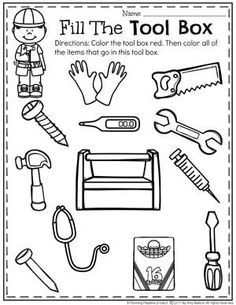 cut out these tools and glue them to a long piece of black