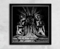 An evil king sits upon a dark, foreboding throne made of heavy stone. His long robes trail down the cracked and destroyed staircase in the foreground. Surrounded by lusty, nude women and hidden behind a mysterious cloak, this monstrous ruler represents the darkest of debaucheries.  - High Quality Giclee Print on Fine Art Paper - Sizes: 8x8, 10x10, 12x12,14x14, 16x16 - Framed: No - Original Artwork: Pencil on Paper  This is a reproduction print of the original Drawing by Rebecca Magar.