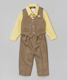 Mustard & Gray Four-Piece Vest Set - Infant, Toddler & Boys by Mr. Saturday Night #zulily #zulilyfinds $11.99, regular 35.00