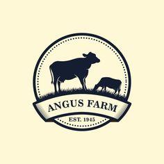 Black Angus Logo Design Template Cow Farm Logo Design Vector and PNG Cow Logo, Farm Logo, Camera Logo, Youtube Logo, Typo Logo Design, Cow Illustration, Honey Logo, Business Stamps, Gado