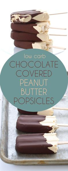 Delicious low carb peanut butter ice cream bars with a crisp sugar-free chocolate shell. #keto #ketorecipes #peanutbutter #lowcarb #sugarfree