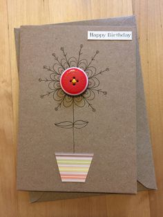 Ideas Flowers Birthday Card Scrap For 2019 Flower Birthday Cards, Cool Birthday Cards, Birthday Card Sayings, Handmade Birthday Cards, Flower Cards, Greeting Cards Handmade, Fabric Cards, Button Cards, Button Flowers