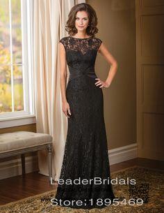 >> Click to Buy << Elegant Mother of the Bride Dresses Black Lace Beaded Vestido De Festa Cap Sleeves Floor-Length Wedding Party Dress S198 #Affiliate