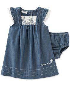 Calvin Klein Baby Girls' 2-Piece Dress & Diaper Set