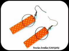 Boucles d'oreilles rectangle à pois jaune fond orange~Boucles d'oreilles orange à pois