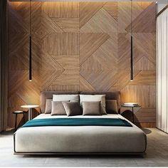 regram @ohlaemcasablog Painel amadeirado com ripas organizadas de forma geométrica e assimétrica é o destaque neste belíssimo quarto!  #quartosohlaemcasa