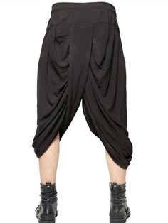 TOM REBL - DRAPED HAREM SHORTS - LUISAVIAROMA - LUXURY SHOPPING WORLDWIDE SHIPPING - FLORENCE