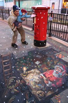 Julian Beever's 3D Pavement Drawings ~ Placing The Order. Published in 'The Daily Mail' on Christmas Eve 2007.
