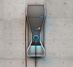 BMW charging station | Designed to charge the BMW i3 Concept, the charger follows the same design language down to the blue accent and colour, caisdesign.com