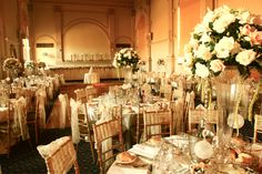 Romantic, peach table decoration curzon hall