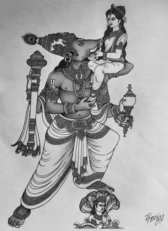 Lord Ganesha Paintings, Krishna Painting, Krishna Art, Hare Krishna, Elephant Line Drawing, Lakshmi Images, Lord Vishnu Wallpapers, Art Drawings Sketches Simple, Sketch Art
