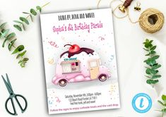 Editable Drive By Birthday Parade Invitation, Virtual Party Invite, Ice Creme Girl Pink Invitation, Instant Download Digital, YOU PRINT Pink Invitations, Invite, Party Printables, Pink Girl, Event Ticket, Ice, Digital, Birthday, Handmade Gifts