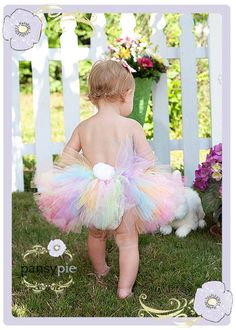 So freakin' cute!! Easter Bunny Tutu Dress Bunny Tail Tutu by PansyPieBoutique, $24.00