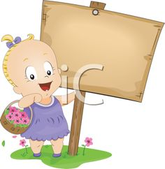 Royalty Free Clipart Image of a Little Girl With a Basket of Flowers Standing Beside a Sign
