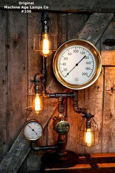 Steampunk Lamp, Machine Age Lamp, Brass Steam Gauge - #106