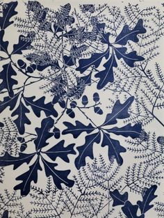 Martha Armitage -- print navy on white ferns and oaks pattern
