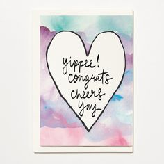 Yippee! - Congratulations Greetings Card, Bridal Card, Wedding Card by ShortAndSweetPrint on Etsy