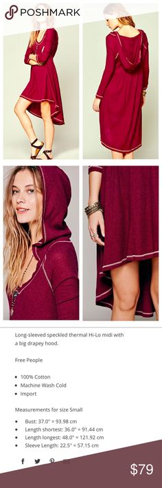 FREE PEOPLE Hooded Dress EUC! Amaaaaaaazing hooded dress! So cute with boots! Oversized Slouchy Sweater Free People Sweaters