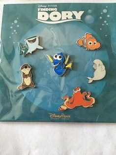 Disney Pixar Finding Dory Trading Pins-Set Of 6-New and Sealed On Card!