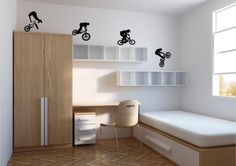 4 x Bmx Riders Wall Decal Wall art Sticker by BeInspiredWallArt