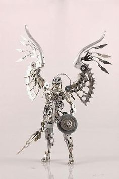 Steampunk Archangel by Daisuke Shimodaira Steampunk Airship, Mode Steampunk, Dieselpunk, Steampunk Drawing, Steampunk Gadgets, Dirigible Steampunk, Art En Acier, Arte Peculiar, Sculpture Metal