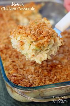 Mom's classic Chicken Casserole recipe on TastesBetterFromScratch.com - this is my husband's all time favorite meal!