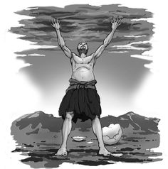 This is a depiction of the Pangu Creation myth, in which the man stood up to separate the sky and the land.
