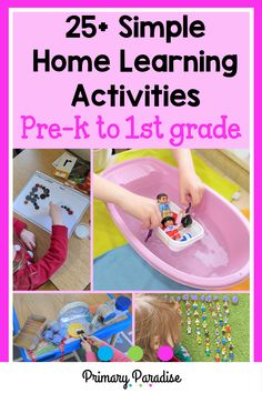 Simple Home Learning Activities for Pre-K to First Grade - Play Based Learning, Home Learning, Learning Through Play, Early Learning, First Grade Activities, Kids Learning Activities, Classroom Activities, Homeschool Kindergarten, Elementary Math