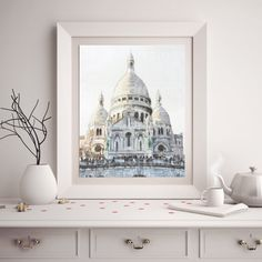 Basilica of Sacre-Coeur, Montmartre, Fine Art Watercolor Print, French Cottage Chic European Decor, Paris Cathedral Architecture Wall Art  This is a watercolor fine art print of the Basilica of Sacre-Coeur, located in Montmartre, Paris France. The ornate architectural detail, silver and gray lightened by the sun is amazing. This reproduction print is truly beautiful and French Cottage Chic at its very best! _______________________________________________________________ SIZES OFFERED  This…